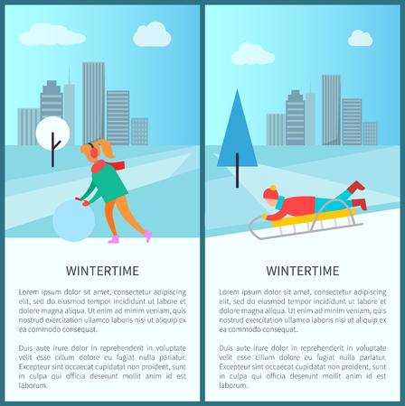 Wintertime activities poster vector illustration set