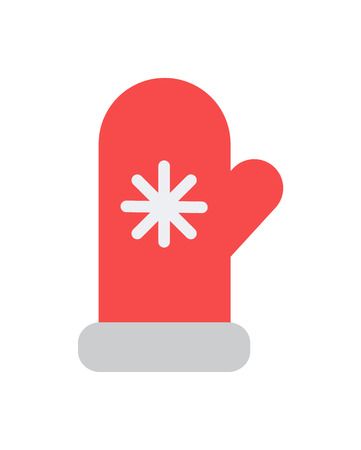Mittens Icon with Knitted Snowflake vector illustration