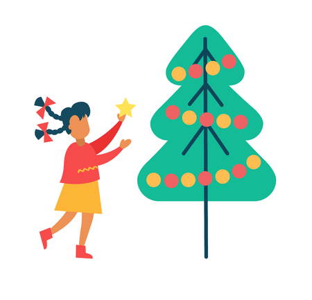 Girl Decorating a Tree vector illustration