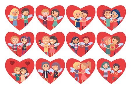 Set di cuori con ali di coppie ragazzo ragazza sul retro Archivio Fotografico - 93847101