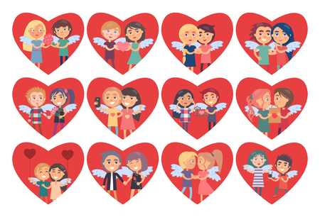 Set of Hearts with Boy Girl Couples Wings on Back Illustration