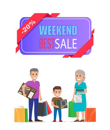 Cartaz de melhor venda de fim de semana Avós em compras Foto de archivo - 93764478