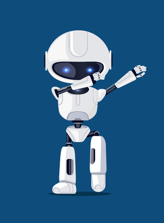 White funny dabbing robot, vector illusration of representative of artificial intelligence with glossy blue eyes isolated on deep blue background