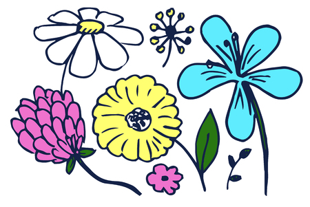 Set of Cute Colorful Flowers Vector Illustration