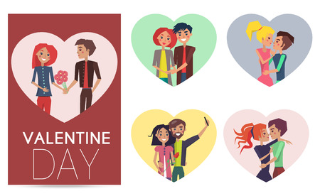 Happy Couples in Love Pair of Boys Girls Set Frame