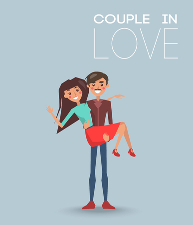 Couple in love dating boyfriend and girlfriend, male holding female on arms hugging vector illustration of happy lovers isolated on blue background Illustration
