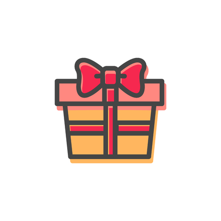 Present and Christmas elegance, gift with cute red bow made of ribbon, wrapping covering box with something inside of it vector illustration