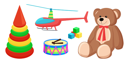 Teddy Bear and Copter Toys Vector Illustration