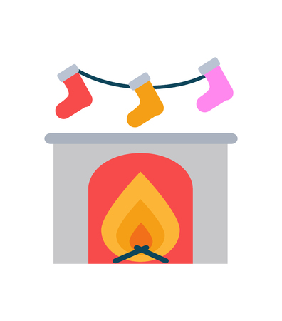 Burning Fireplace and Socks Hanging Above Vector