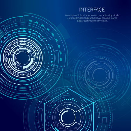 Gloomy interface with lot of geometric shapes vector illustration with bright rectangles lines squares polygons and text sample isolated on dark blue