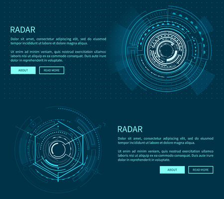Radar Layout with Many Figures Vector Illustration Ilustração