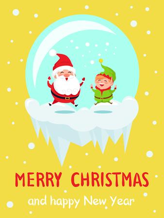 Merry Christmas Happy New Year Poster Santa Elf