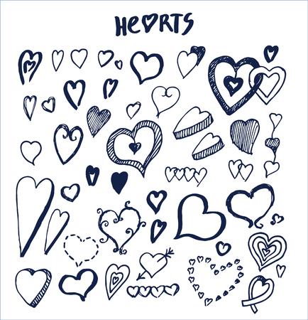 インクペンで書かれたハート手描き要素