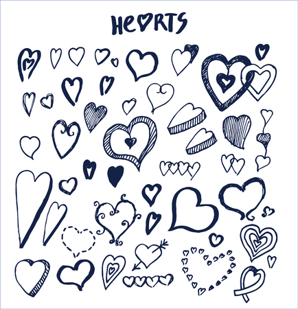 Hearts Hand Drawn Elements Written by Ink Pen