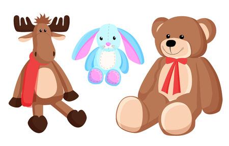 Reindeer Bunny Christmas Toys Vector Illustration Ilustracja