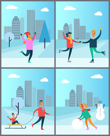 Couple Skates on Rink Man in Sweater Woman Snowman Stock fotó - 93803025