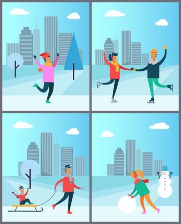 Paar schaatsen op ijsbaan man in trui vrouw sneeuwpop Stock Illustratie