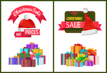 Hot prices Christmas sale posters with wrapped present, promo labels Santas hats vector illustration discount shopping stickers with gifts pile