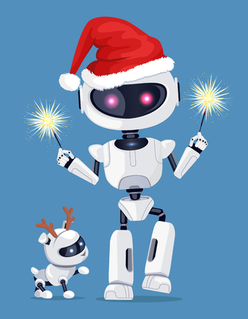Festive robot in red Santas hat with cute puppy.