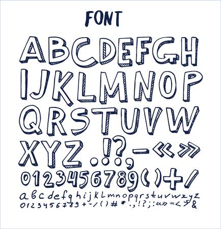 글꼴 손으로 그려진 된 요소, 알파벳 숫자와 아래의 기호로 잉크 펜에 의해 작성 된 ABC 스케치 벡터 체크 무늬 용지에 격리 된 벡터