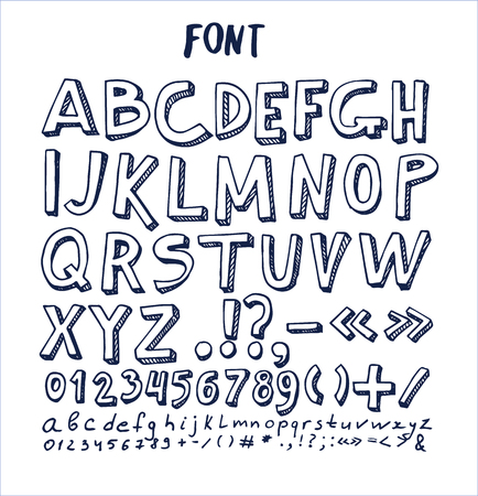 Fonts hand drawn elements, alphabet written by ink pen with numbers and symbols below, ABC sketch vector isolated on checkered sheet of paper