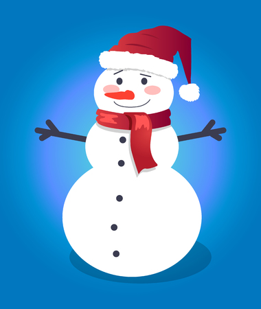Handsome snowman in red hat with vector illustration Ilustração