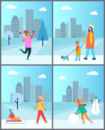 Leute, die draußen Spaß, Mutter-tragendes Kind halbieren Standard-Bild - 93803065
