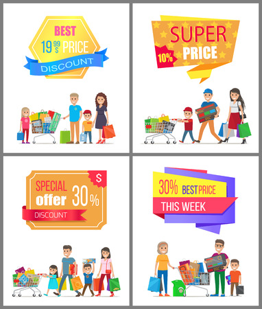 Sale low price special discount super choice card with family shopping illustration.