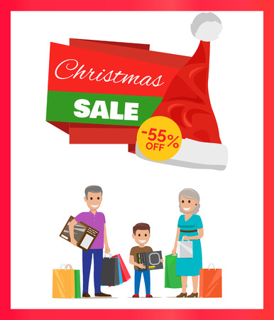 Christmas Sale 55 Percents Advertising Poster