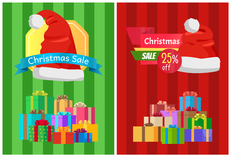 Sale Discount Xmas Hot Prices Labels Piles Gifts Stok Fotoğraf - 94028440