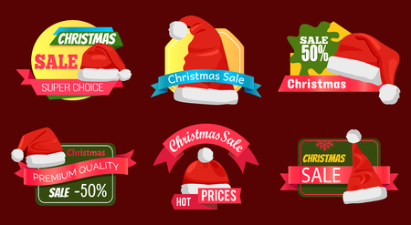 Set of premium quality half price promo cards vector illustration with six Santa s hats isolated on cherry background, advertising text, cute ribbons Illustration