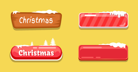 Christmas Glossy Web Push Buttons Covered by Snow