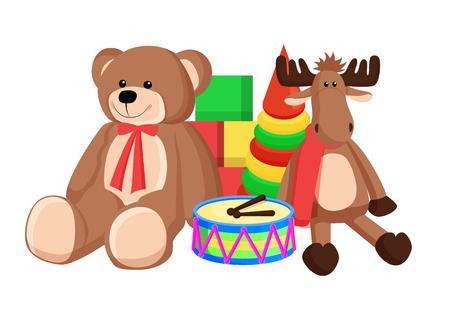 Toys Set Santa Claus Factory Vector Illustration