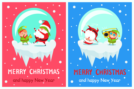 Postcard Merry Christmas Happy New Year Santa Elf