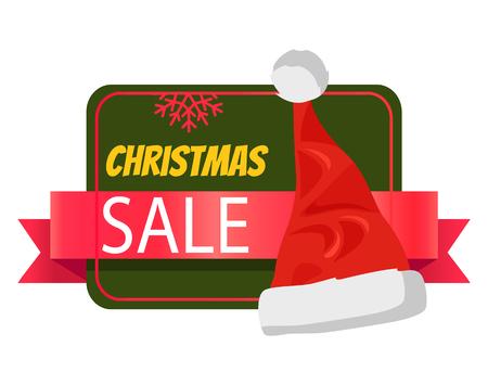 Christmas Sale Promo Label with Santa Claus Hat Çizim