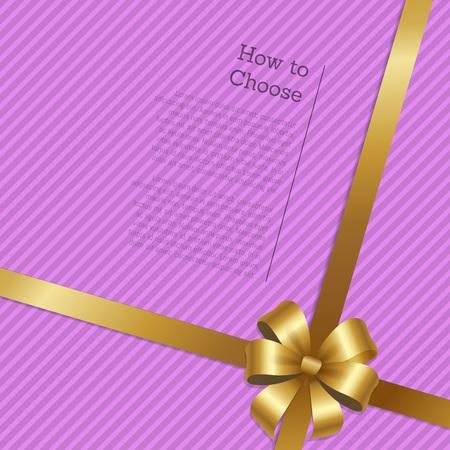 How yo Choose Shopping Certificate Decor Gold Bow Illustration