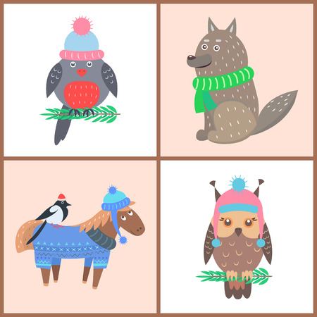 Collection of Posters Animals Vector Illustration Illustration