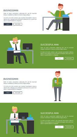 사업가 및 직장에서 성공적인 남자 웹 배너