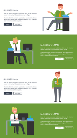 Businessman and Successful Man at Work Web Banners