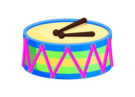 Drum Toys with Sticks Santa Vector Illustration