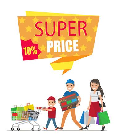 Super Price Sale Colorful Card Vector Illustration. Stock Vector - 94047123