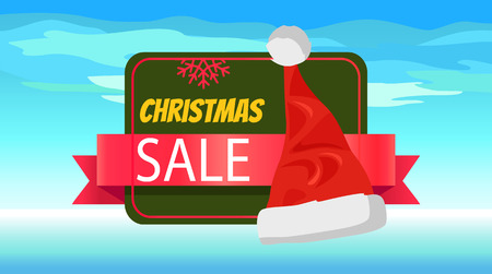 Christmas Sale Banner with Cute Red Santa's Hat.