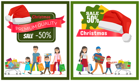 Two Christmas Sale Posters Vector Illustration.
