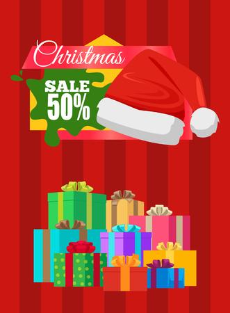 ●プレゼントを包んだ広告バナークリスマスセールポスター、サンタハットベクトルイラスト割引ステッカー付きプロモーションラベル