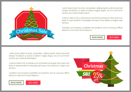 Christmas sale buy now posters vector illustration of two promotion cards with text sample, New Year trees with cute toys, push-buttons, blue ribbons