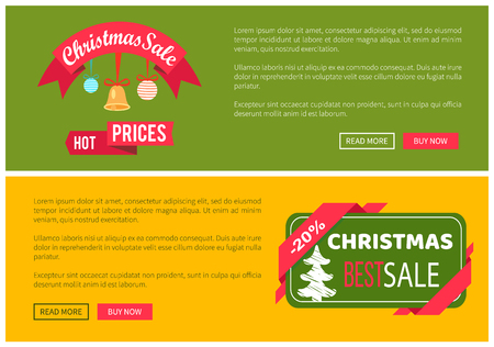 Premium quality hot price hristmas sale card vector illustration isolated on yellow and green backgrounds, ad text, tree ribbons push-buttons toys Stock Vector - 94044845