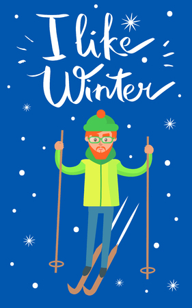 I like winter, placard with skier, poster with man doing sport and activities, snowflakes and headline sample above, isolated on vector illustration Ilustrace