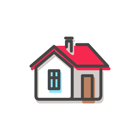 House with red roof and chimney on its top, window and brown door, simple Christmas icon, coziness and comfort isolated on vector illustration