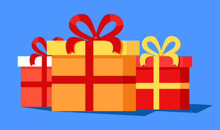 Three cute gift boxes banner vector illustration with set of colorful presents coiled into red and yellow ribbons with lovable bows, isolated on blue
