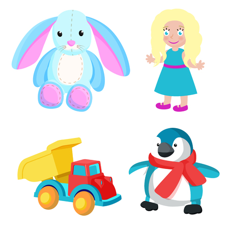 Toys produced at Santa factory, bunny with long ears, girl with blonde hair, truck and penguin with red scarf isolated on vector illustration